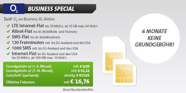 o2 on Business XL für 16,76 € mtl.