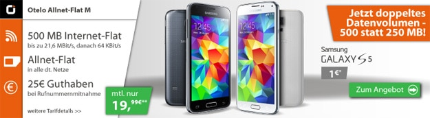 Samsung Galaxy S5 mit Otelo Allnet Flat M