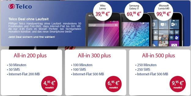 Telco Handyflash mit Wiko Lenny und Samsung Galaxy J1
