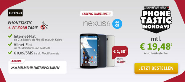 1. FC Köln Tarif Phonetastic mit Nexus 6