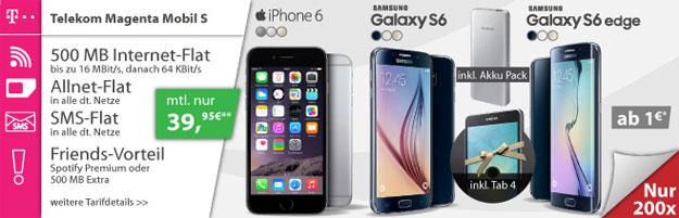 Samsung Galaxy S6 Edge mit Tab 4 und Magenta S