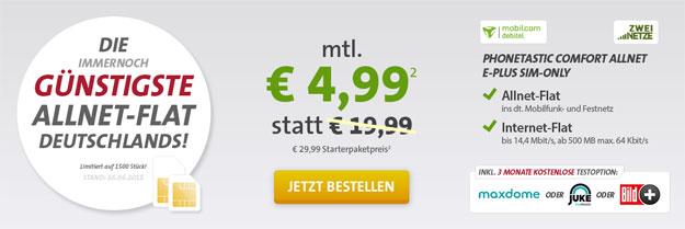 Allnetflat für 4,99 EUR