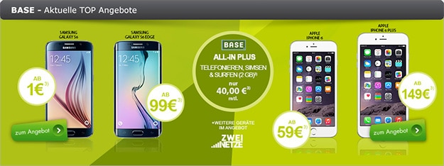 BASE all-in plus mit Samsung Galaxy S6 und Tab 4 (7.0) WiFi