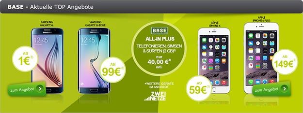 BASE all-in plus mit Samsung Galaxy S6 und Tab 4 (7.0) WiFi