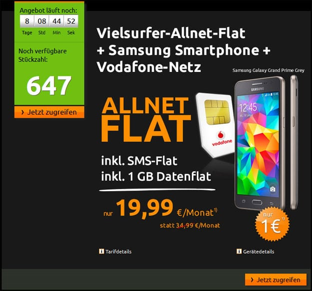 Crash Allnet-Flat mit Samsung Galaxy Grand Prime