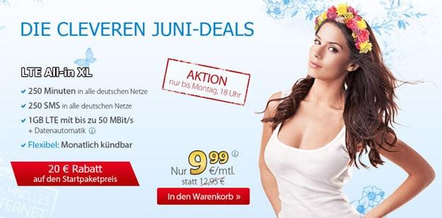 DeutschlandSIM LTE All-in XL für 9,99 € im Monat