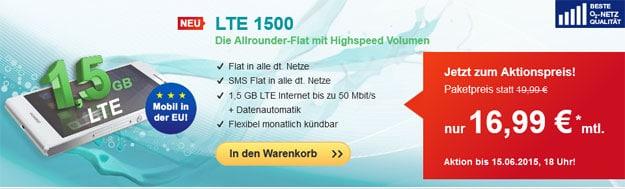 Hellomobil LTE 1500 für 16,99 € im Monat