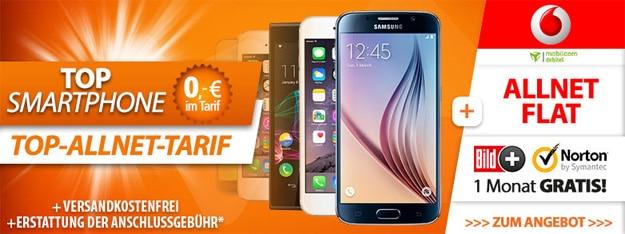 iPhone 6 oder Samsung Galaxy S6 mit Vodafone Comfort Allnet