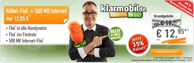 Klarmobil Allnet-Flat Vodafone für 12,85 € im Monat