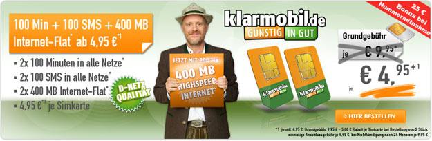 Klarmobil Allnet-Starter für 4,95 € im Monat