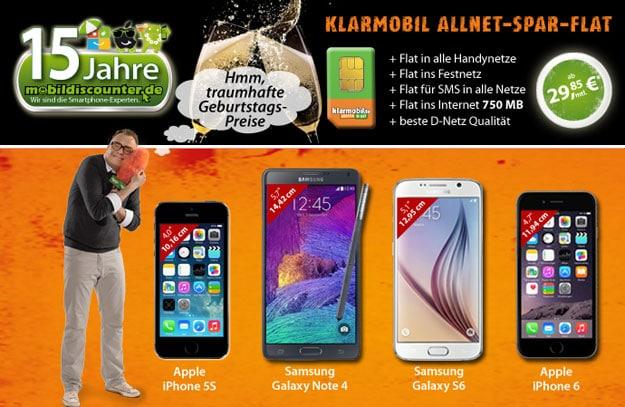 Mobildiscounter Geburtstag mit Klarmobil Allnet-Flat