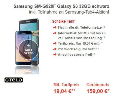 Samsung Galaxy S6 mit Tab 4 im Schalke-Tarif