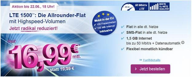 simply LTE 1500 für 16,99 € monatlich