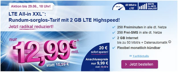 simply LTE All-in XXL für 12,99 €