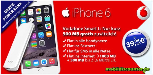 iPhone 6 16GB mit Vodafone Smart L 1,5 GB