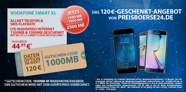 Vodafone Smart XL mit 2,5 GB Datenvolumen