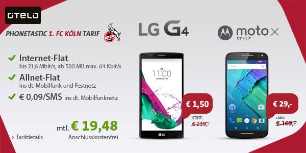 1. FC Köln-Tarif mit LG G4 und Moto X