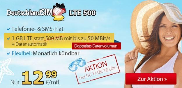 DeutschlandSIM LTE 500 12,99 €