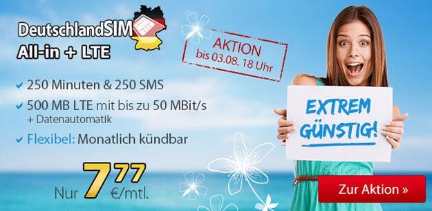 DeutschlandSIM LTE All-in LTE für 7,77 €