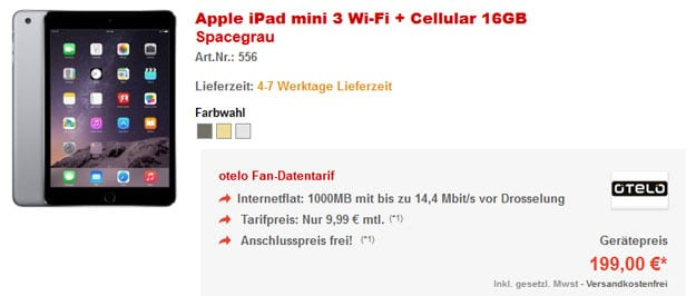 iPad Mini 3 mit Otelo Datentarif