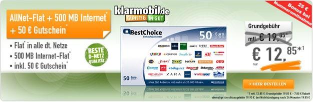 Klarmobil AllNet-Spar-Flat für 12,85 € mit BestChoice-Gutschein
