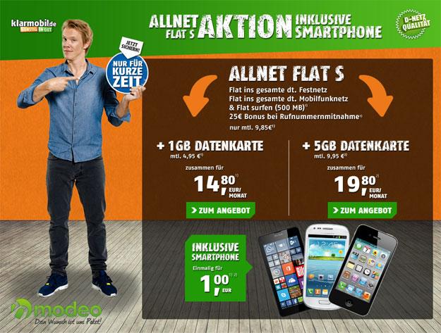 Klarmobil Allnet-Flat S mit Datenkarte Aktion
