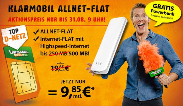 Klarmobil Allnet-Flat Telekom für 9,85 € im Monat