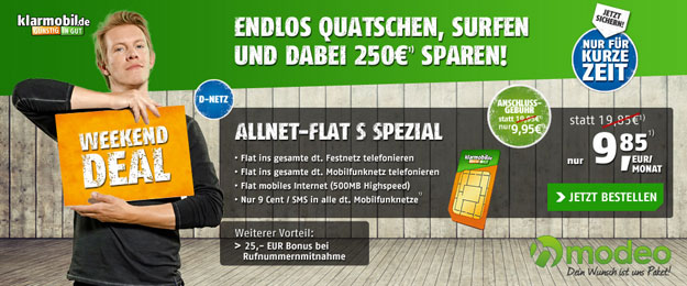 Klarmobil Allnet-Flat S Weekend-Deal