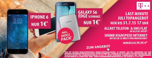 Telekom Magenta Mobil S mit iPhone 6 oder Samsung Galaxy S6 Edge + Akkupack
