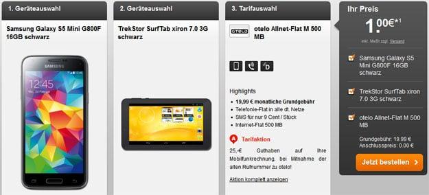 Otelo Allnet Flat M mit Samsung Galaxy S5 Mini und TrekStor SurfTab xiron