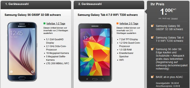 Samsung Galaxy S6 + Tab 4 mit BASE all-in Plus