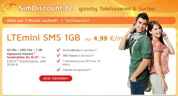 SimDiscount LTE-Mini-Tarife