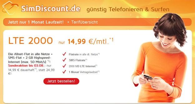 SimDiscount LTE 2000 für 14,99 € mtl.