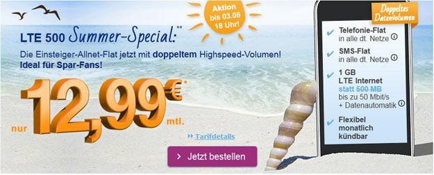 simply LTE 500 mit 1 GB LTE für 12,99 €