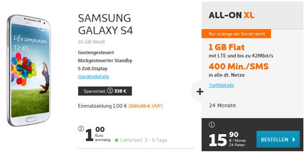 simyo All-on XL mit Samsung Galaxy S4