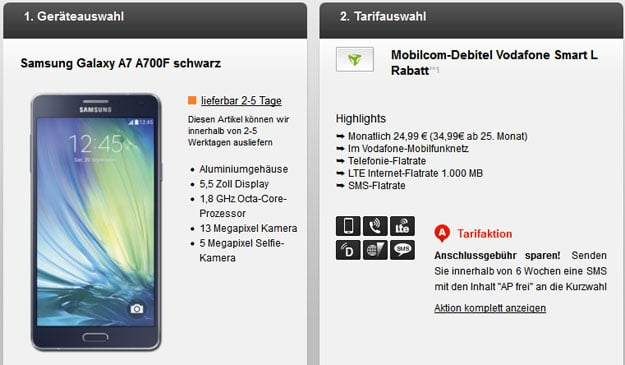 Vodafone Smart L (md) mit Samsung Galaxy A7
