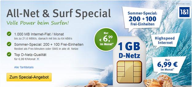 1&1 Allnet & Surf Special mit 300 Freieinheiten