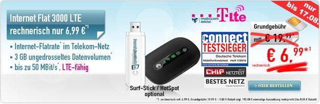 3 GB LTE-Telekom-Tarif für 6,99 €