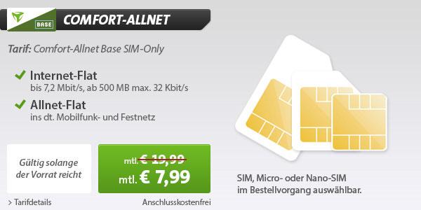 BASE Comfort Allnet für 7,99 €