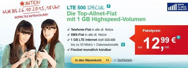 Hellomobil LTE 500 Special für 12,99 € mtl.