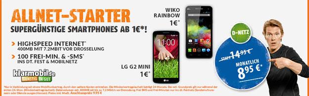 Klarmobil Allnet-Starter für 8,95 € mtl. mit Handys