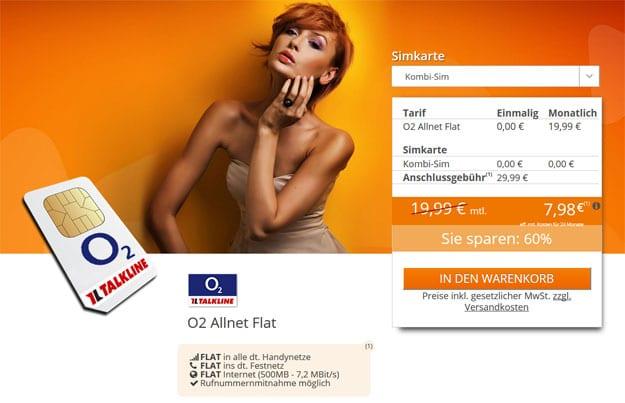 o2 Allnetflat für 7,98 EUR