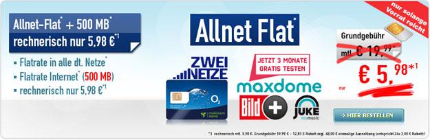 o2 Allnet Flat mit 500 MB für 5,98 € mtl.