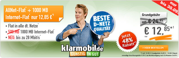Klarmobil Allnet-Flat 12,85 € mtl.