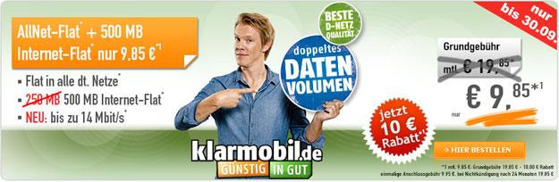 Klarmobil Allnet-Flat 9,85 € mtl.