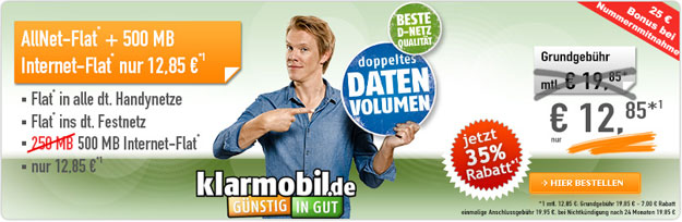 Klarmobil Allnet Spar Flat für 12,95 € mtl.