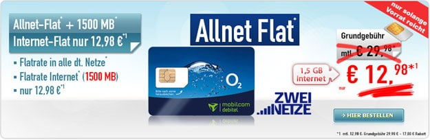o2 Allnet Comfort mit 1,5 GB für 12,98 € mtl.