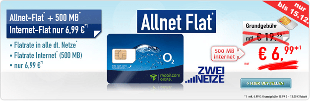 o2 Allnet Flat für 6,99 € monatlich