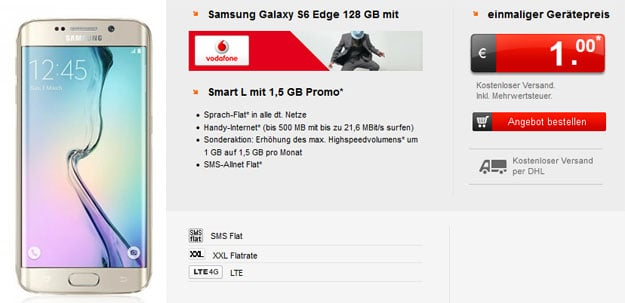 Samsung Galaxy S6 Edge 128GB mit Vodafone Smart L