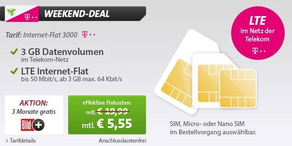 Telekom 3 GB LTE-Datenflat (md) für 5,55 € mtl.
